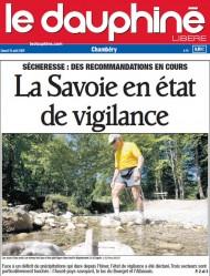 Le Dauphiné Libéré titre sur la sécheresse.